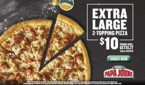 Papa John's: Extra Large 2-Topping Pizza for $10