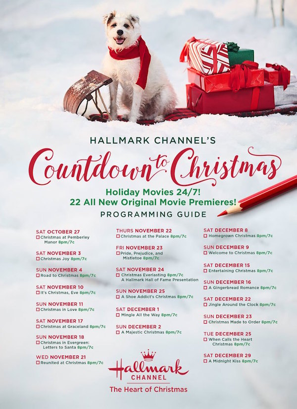 Hallmark Channel Countdown to Christmas Movie List