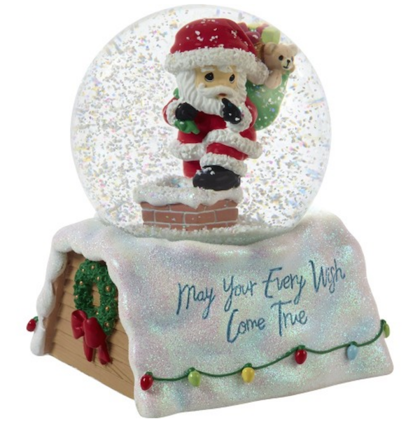 Precious Moments May Your Every Wish Come True 10th Annual Santa Series Musical Snow Globe