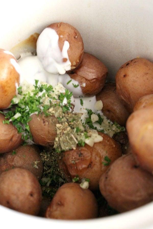 Preparing Garlic Herb Mashed Potatoes