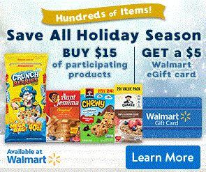 Buy $15 of Participating Quaker Products, Get a $5 Walmart eGift Card