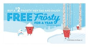 Buy a Wendy's Frosty Key Tag for $2, Get a Free Jr. Frosty with Any Purchase for a Year