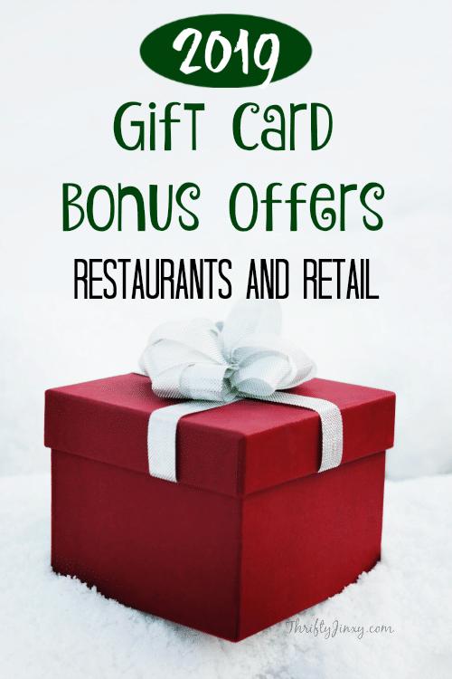 2019 Gift Card Bonuses