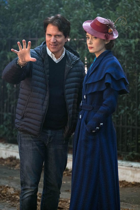 Rob Marshall and Emily Blunt on the set of Disney's MARY POPPINS RETURNS,