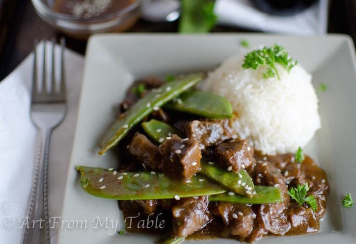 Beef and Pea Pods with rice