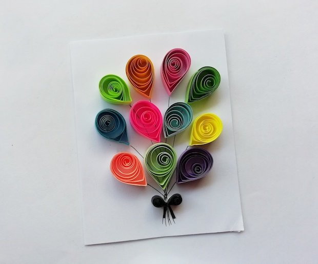Finished Balloons Paper Quilling Craft