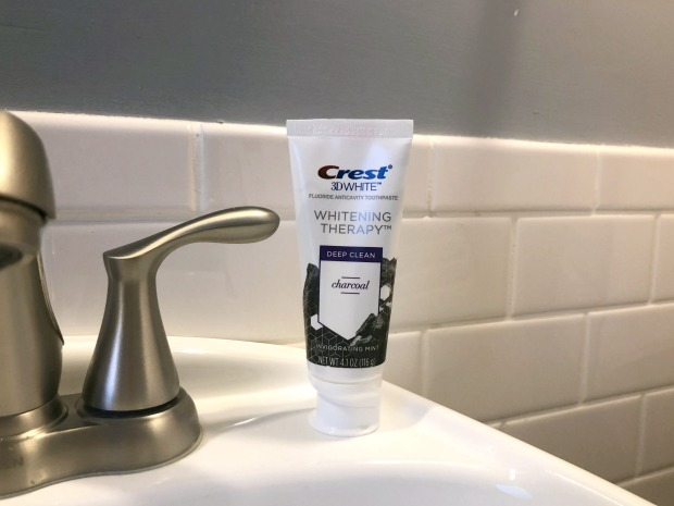 Crest 3D White Whitening Therapy Deep Clean Charcoal on Sink