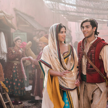 Naomi Scott as Jasmine and Mena Massoud as Aladdin in Disney's live-action adaptation of ALADDIN