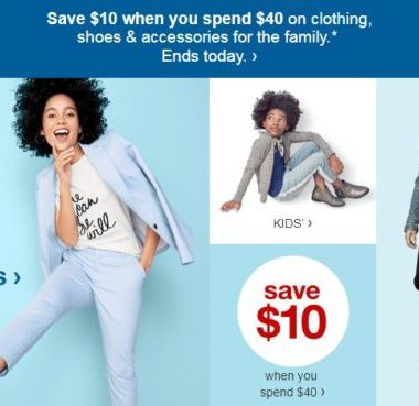 d3613f978b9 Target  Save  10 When You Spend  40 on Clothing