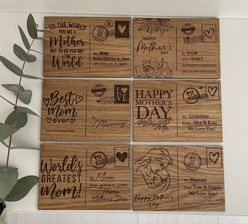 Personalized Wooden Postcard Mother's Day