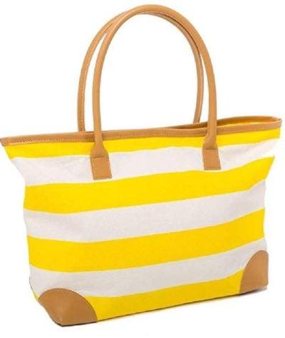 Yellow Striped Canvas Beach Bag