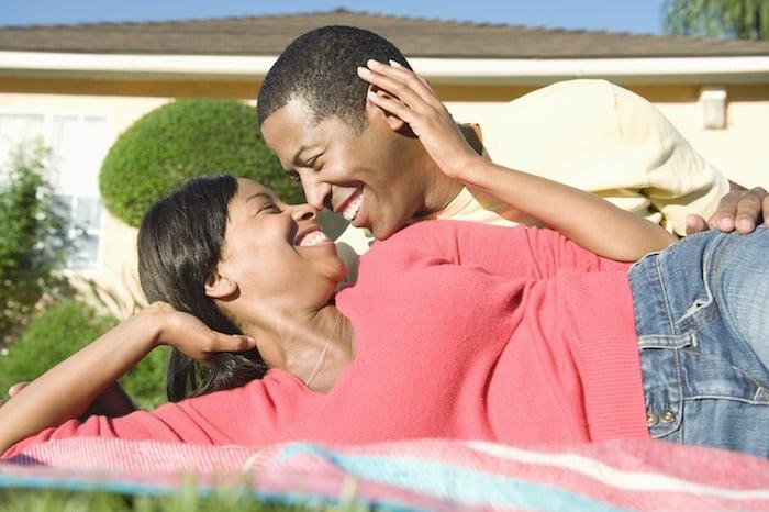 Romantic Couple on Picnic Blanket