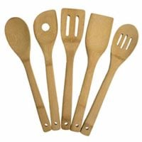 "Totally Bamboo 5-Piece Cooking Utensil Set, Solid Bamboo cooking tools, each 12"" Long"