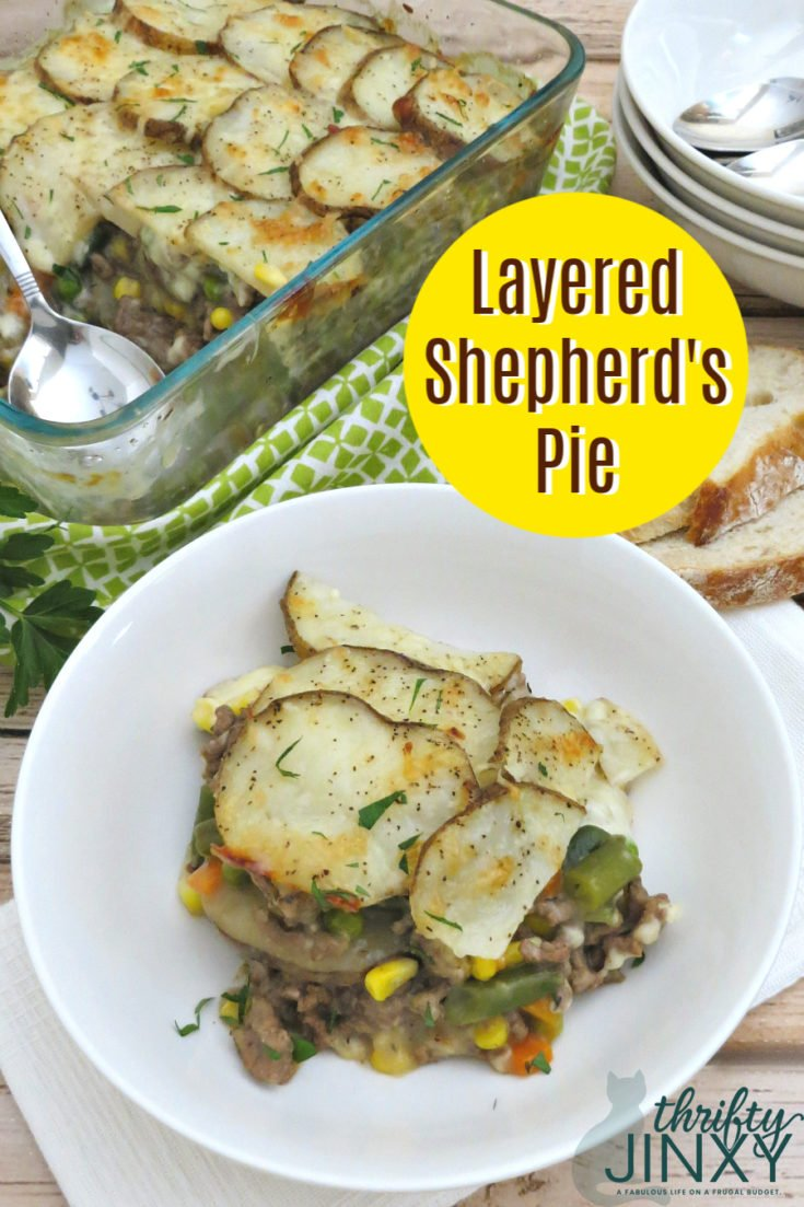 This Layered Shepherd's Pie casserole has all the flavors of the shepherd's pie we love but with a little twist. Instead of the classic mashed potato topping, we thinly slice potatoes and layer them with a savory beef filling and a little cheese. The top potato crust is crispy and delicious! #Casserole #EASYDINNER #Dinner #groundbeef #ShepherdsPie