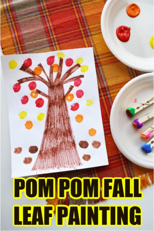 Pom Pom Fall Leaf Painting Craft