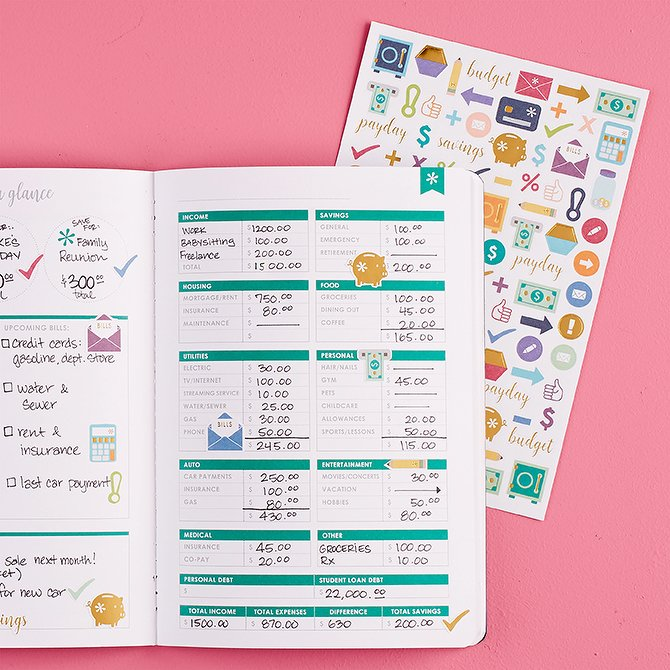 erin Condren Budget Book with Stickers