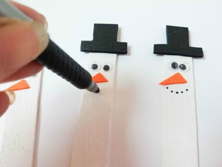 Craft Stick Snowman Magnets process