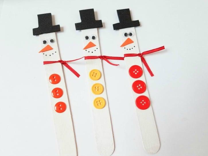 Craft Stick Snowman Magnets Craft