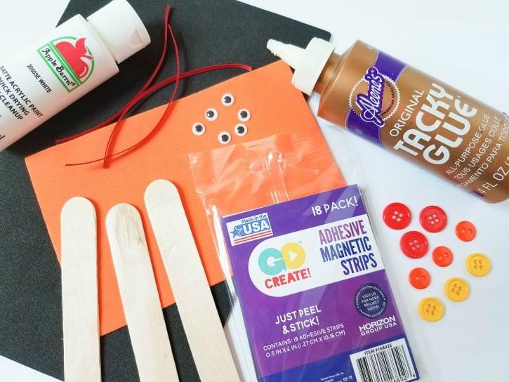 Craft Stick Snowman Magnets - supplies needed