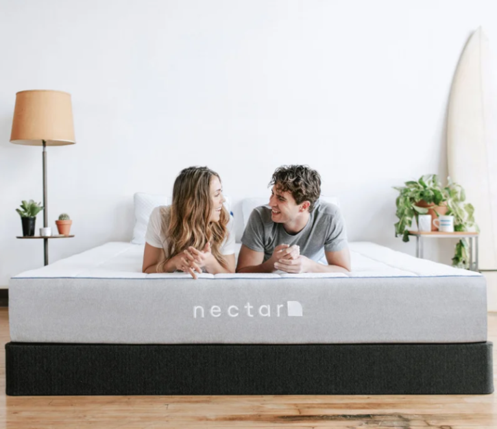 Nectar Mattress with Couple in White Bedroom