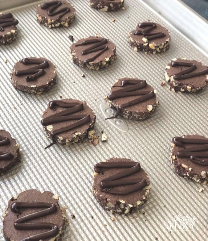 Finished Chocolate Pecan Slice Cookies