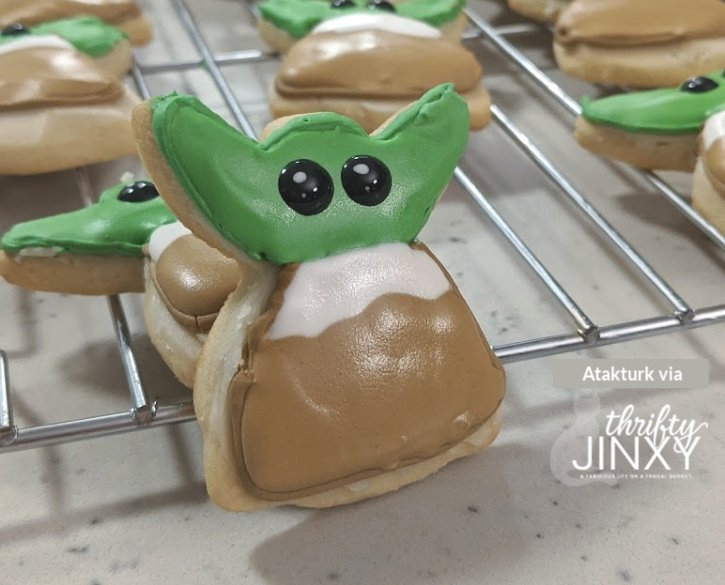 Frosted Baby Yoda Cookie