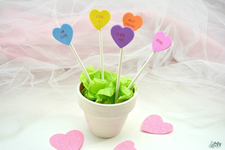 Cute Conversation Heart Planter Craft for Kids