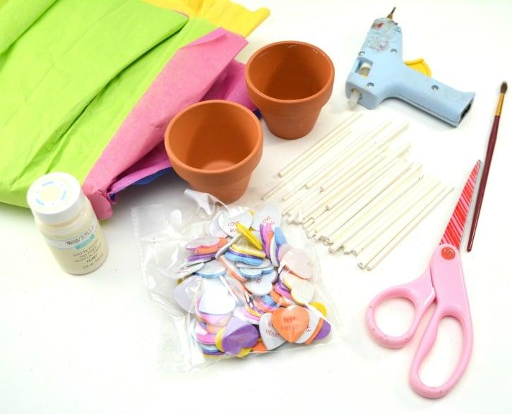 Conversation Heart Planter Craft supplies needed
