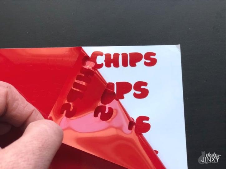 Peeling Cricut Vinyl from Backing
