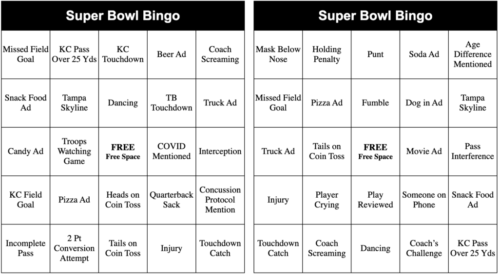 Free Printable 2021 Super Bowl Bingo Card