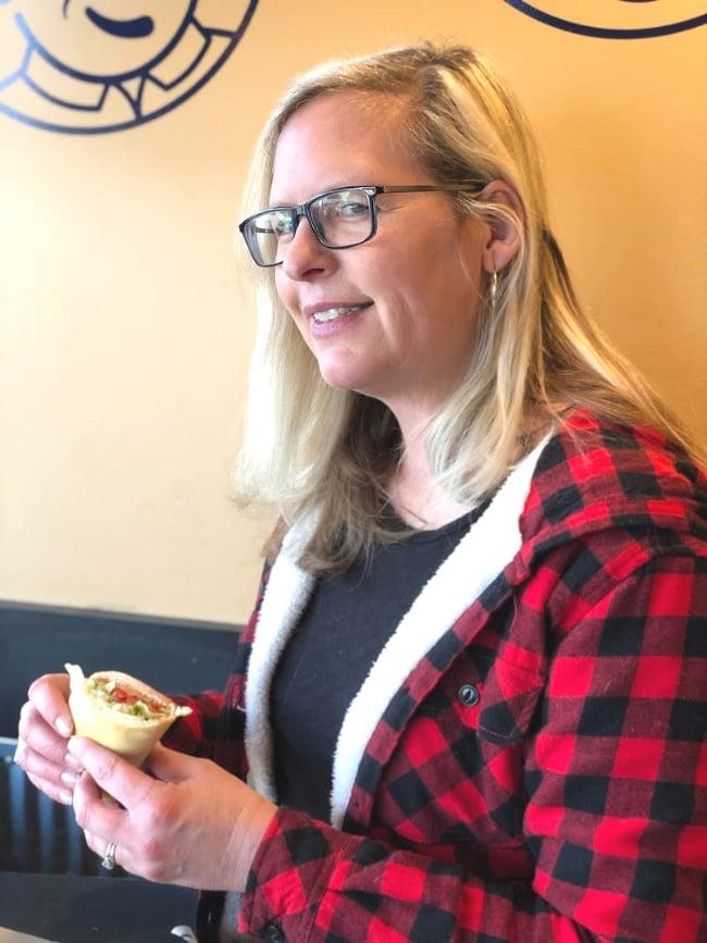 Eating Erberts Gerberts Sandwich