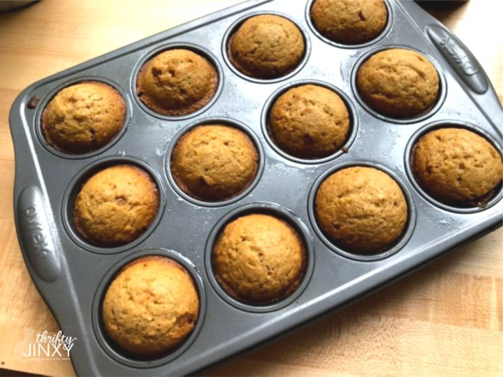 brown butter muffins in pan