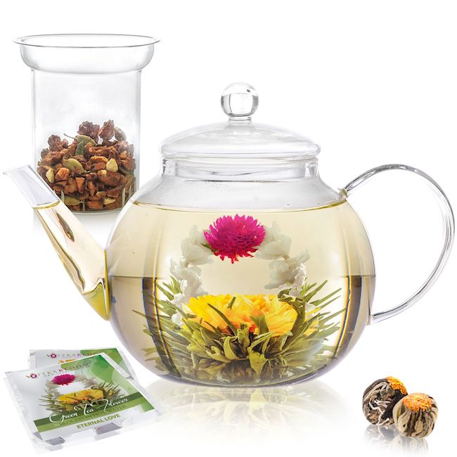 glass teapot with flowering tea