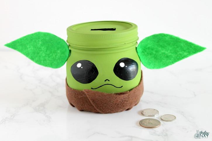 Baby Yoda Mason Jar Bank Craft