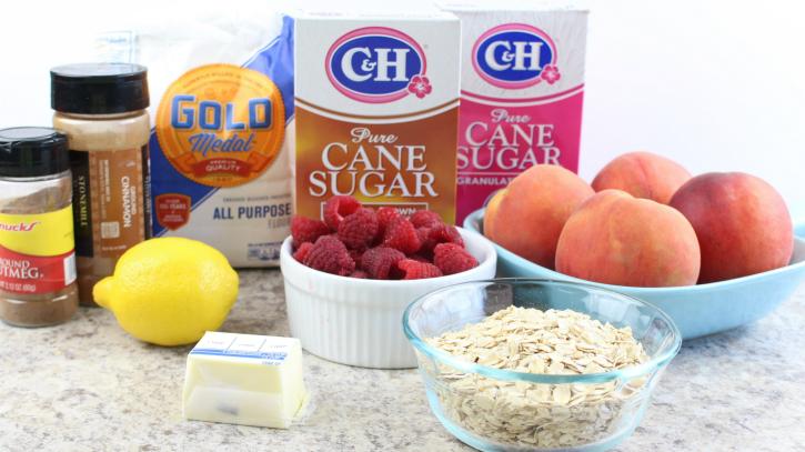 Skillet Peach Raspberry Crisp ingredients