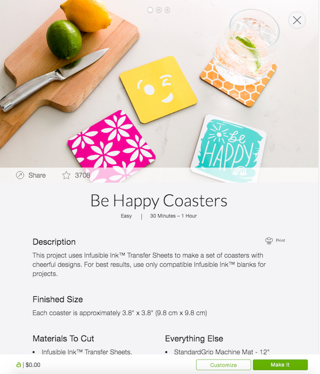 Be Happy Infusible Ink Coasters