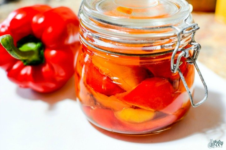 Oven-Roasted Sweet Peppers in Jar with Oil