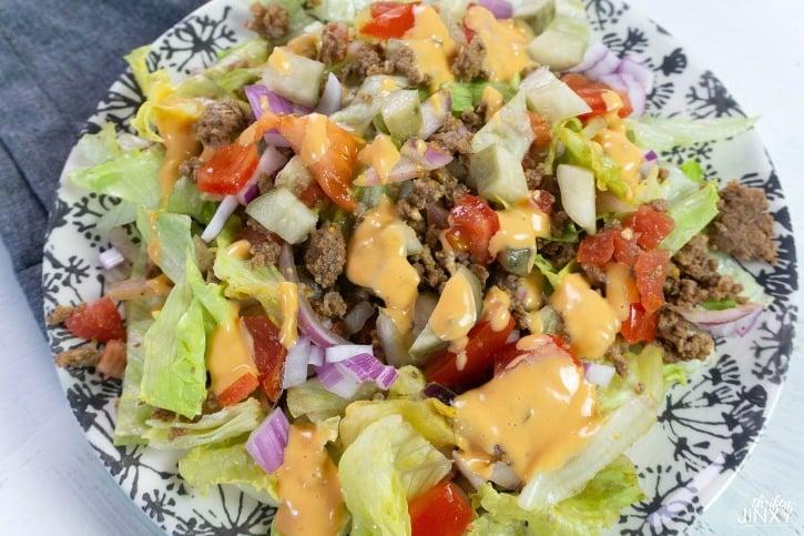 Big Mac Salad Recipe made with Thousand Island Dressing