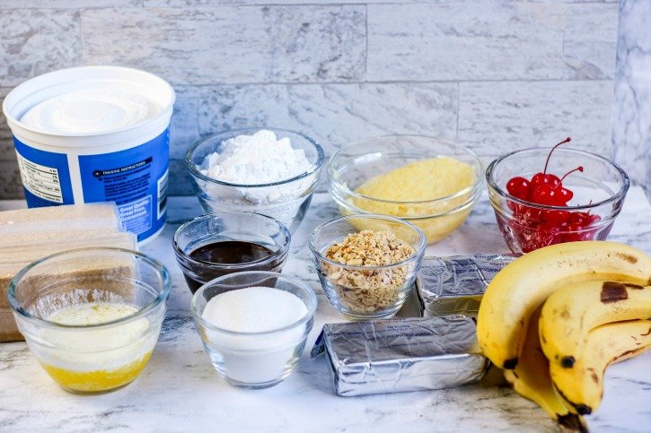No Bake Banana Split Cake ingredients needed