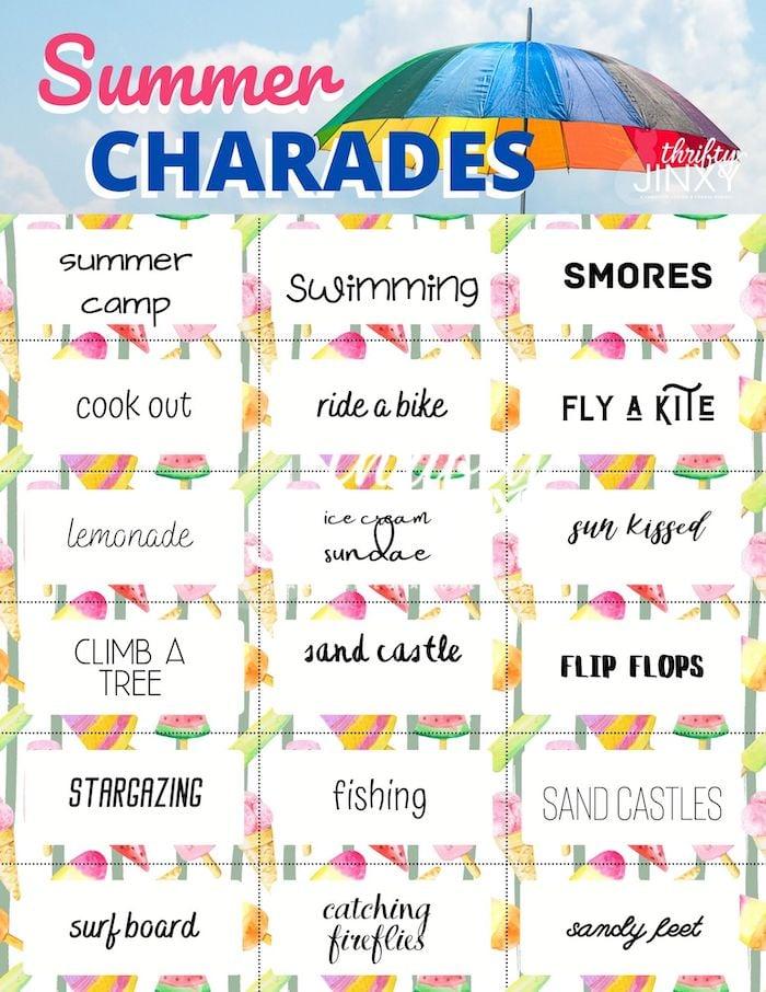 Summer Charades Printable Cards