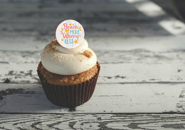 beach themed cupcake topper