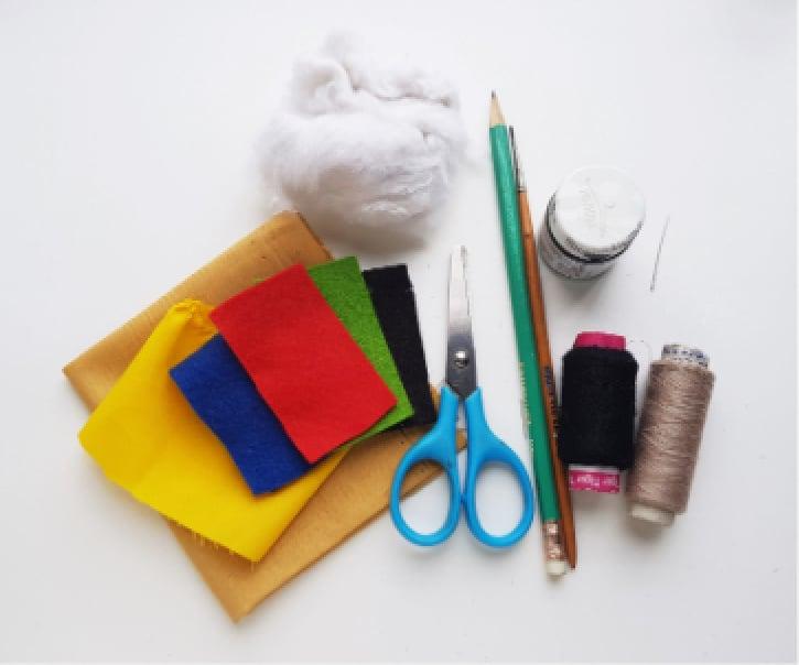Frida Kahlo Rag Doll supplies needed