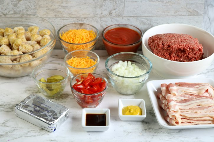 Bacon Cheeseburger Tater Tot Casserole ingredients needed