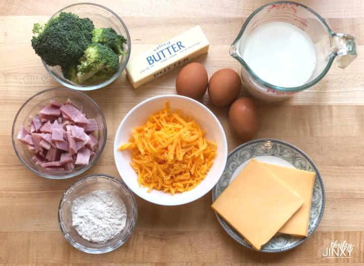 Cheese Ham Broccoli Quiche Ingredients (1)