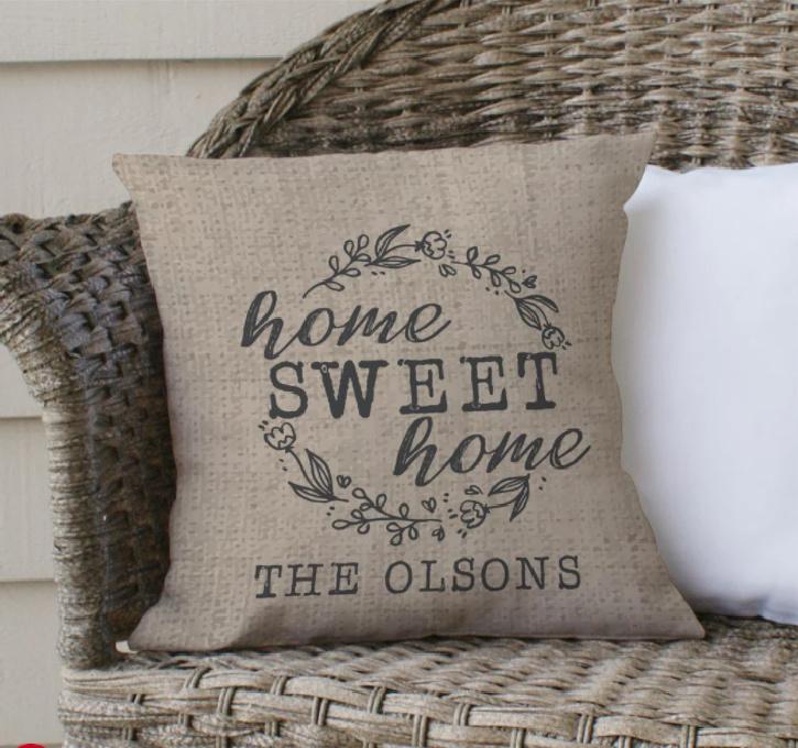 Home Sweet Home Custom Throw Pillow for Sofa