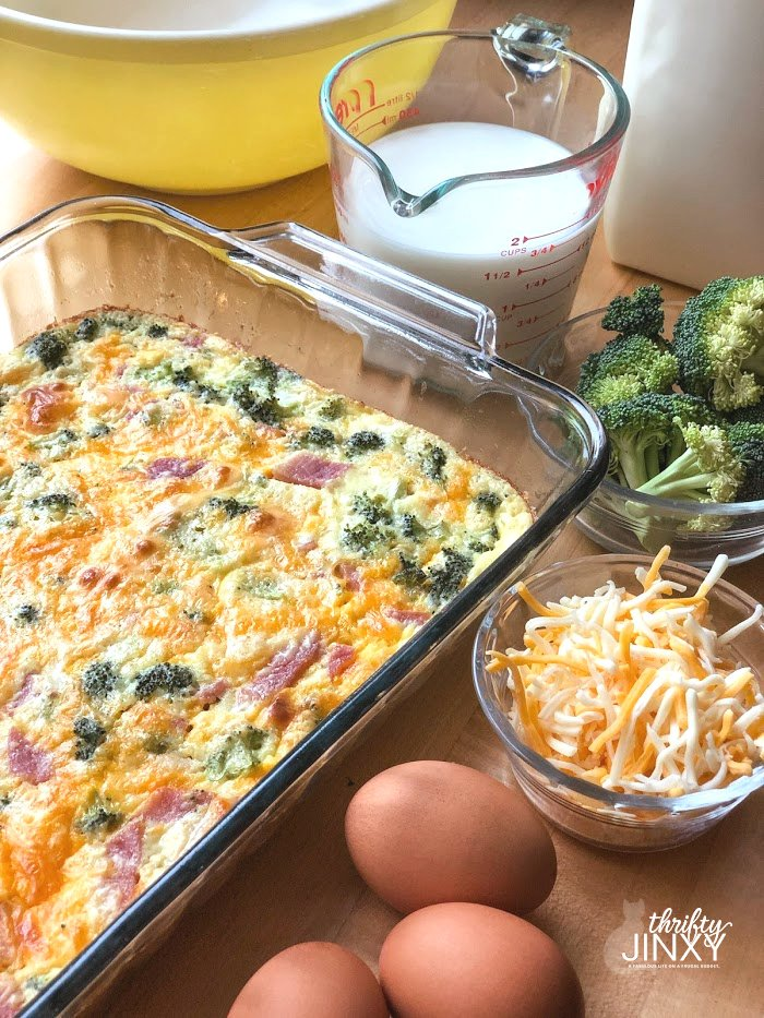 Quiche in Pan with Milk, Cheese, Eggs, Broccoli