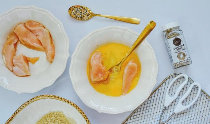Everything Seasoning Chicken Fingers process