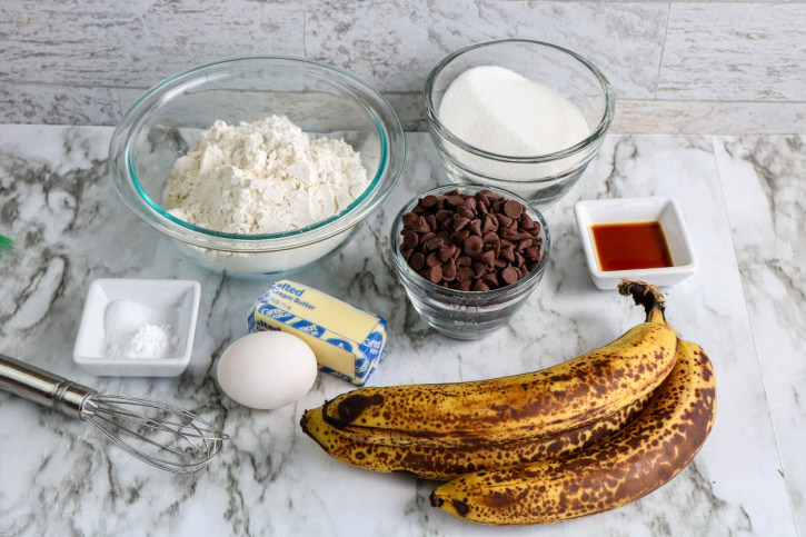 Skillet Banana Bread with Chocolate Chips ingredients needed