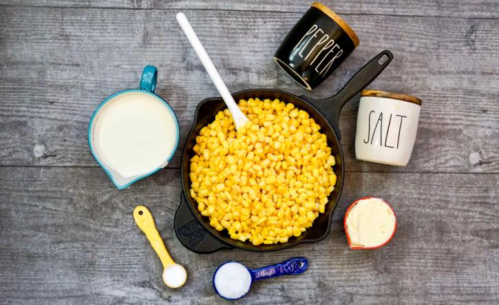 Skillet Creamed Corn ingredients - corn, cream, salt, pepper, butter, sugar, corn starch