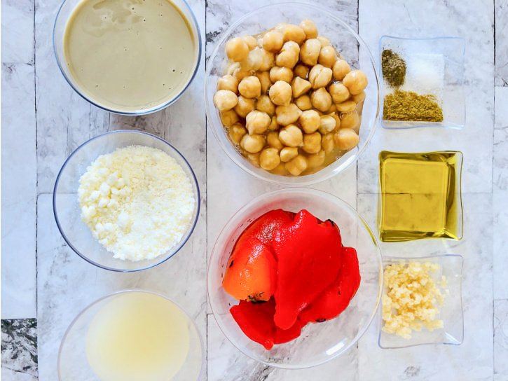 Roasted Red Pepper Hummus Ingredients